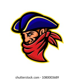 Mascot icon illustration of a 17th century highwayman, robber, outlaw or bandit wearing a bandana t mask his face viewed from side on isolated background in retro style.