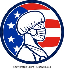 Mascot icon illustration of an American female nurse, medical professional, doctor, healthcare worker wearing a surgical mask and bouffant cap side with USA stars and stripes flag in retro style.