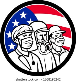 Mascot icon illustration of American medical professional, nurse, doctor, healthcare, soldier or essential worker wearing surgical mask with USA stars and stripes flag set in circle in retro style.