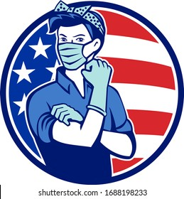 Mascot icon illustration of American Rosie the riveter as medical healthcare essential worker wearing a surgical mask and saying we can do it with USA stars and stripes flag set in circle retro style.
