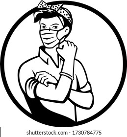 Mascot icon illustration of American Rosie the riveter as medical healthcare essential worker wearing a surgical mask flexing muscle set in circle done in black and white retro style.