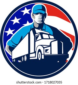 Mascot icon illustration of an American truck driver or trucker wearing surgical mask with truck lorry and USA stars and stars flag set in circle on isolated background in retro style.