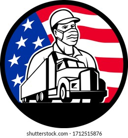 Mascot icon illustration of an American trucker or truck driver wearing surgical mask with semi-truck and USA stars and stars flag set inside circle on isolated background in retro style.