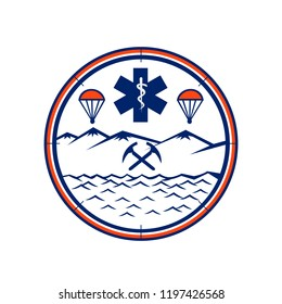 Mascot icon illustration of and, sea and air rescue showing star of life EMT symbol with Rod of Asclepius in the center with crossed pick axes, parachute set in circle on isolated background.