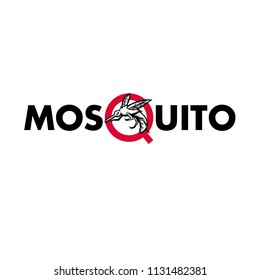 """Mascot icon illustration of an angry mosquito flying viewed from side set inside letter """"Q"""" of the word or text """"mosquito"""" on isolated background in retro style."""