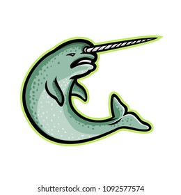 Mascot icon illustration of an angry narwhal  or narwhale, a medium-sized toothed whale that has a large tusk like a unicorn horn, swimming up viewed from side on isolated background in retro style.