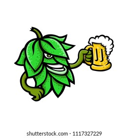 Mascot icon illustration of a beer hops, flower or seed cones or strobiles of the hop plant drinking a mug of ale  viewed from side on isolated background in retro style.