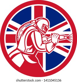 Mascot icon illustration of a British sandblaster or sand blaster abrasive blasting viewed from side set inside circle with Union Jack flag on isolated background in retro style.