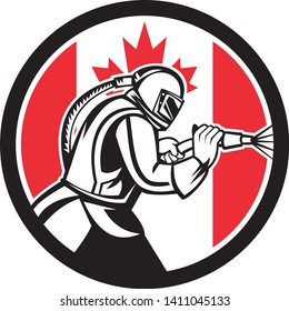Mascot icon illustration of a Canadian sandblaster or sand blaster abrasive blasting viewed from side set inside circle with Canada flag on isolated background in retro style.