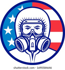 Mascot icon illustration of head of an American industrial worker, medical professional, essential or wearing a respiratory protective equipment, RPE viewed from front with USA flag in background.