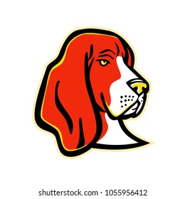 Mascot icon illustration of head of a Basset Hound, a short-legged dog breed of the scent hound family used for hunting, viewed from front on isolated background in retro style.