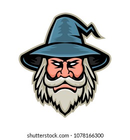 Mascot icon illustration of head of a black wizard, sorcerer or magician, a practitioner of magic and witchcraft wearing a pointed hat viewed from front on isolated background in retro style.