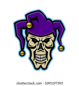 Mascot icon illustration of head of a court jester, joker, fool,story-teller or minstrel skull viewed from front on isolated background in retro style.