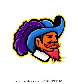 Mascot icon illustration of head of a musketeer or cavalier wearing a cavalier hat that  is wide-brimmed and trimmed with an ostrich plume viewed from side on isolated background in retro style.