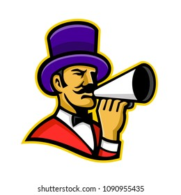 Mascot icon illustration of head of a ringmaster or ringleader, a master of ceremonies that introduces the circus acts,  holding a bullhorn viewed from side on isolated background in retro style.