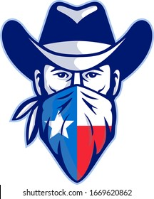 Mascot icon illustration of head of Texan bandit, outlaw or highwayman wearing cowboy hat and bandana, kerchief or bandanna with Texas Lone Star flag front view on isolated background in retro style.