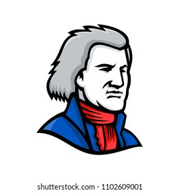 Mascot icon illustration of head of Thomas Jefferson, an American Founding Father and the third President of the United States  viewed from side on isolated background in retro style.