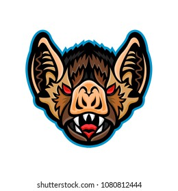 Mascot icon illustration of head of a Vampire bat, a bat specie native to the Americas viewed from front on isolated background in retro style.