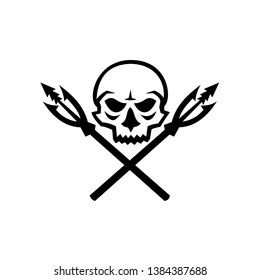 Mascot icon illustration of human skull with crossed primitive fishing spear hooks viewed from front  on isolated background in retro style.