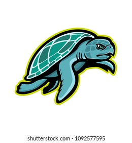 Mascot icon illustration of a Kemp's ridley sea turtle, or the Atlantic ridley sea turtle, the rarest species of sea turtle, swimming viewed from side  on isolated background in retro style.