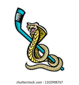 Mascot icon illustration of a king cobra, also known as the hamadryad, a species of venomous snake curling up ice hockey stick on isolated background in retro style.
