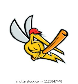 Mascot icon illustration of a mosquito, a small, midge-like fly, as baseball player batting with baseball bat viewed from front on isolated background in retro style.