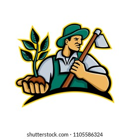 Mascot icon illustration of an organic farmer wearing a hat holding a plant by the palm of his hand with grab hoe on his shoulder looking to side on isolated background in retro style.