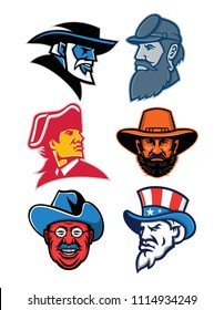 Mascot icon illustration set of American Generals and Statesman like General Robert E Lee, General Stonewall Jackson, General Ulysses Simpson Grant, Theodore Roosevelt of the Rough Riders, Uncle Sam.