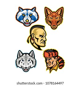Mascot icon illustration set of heads of American wildlife and folklore  heroes like the Artic wolf fe12ba0a3a9f
