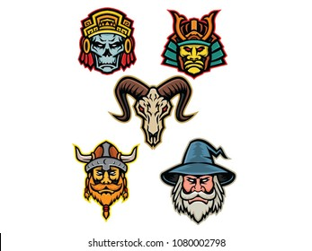Mascot icon illustration set of heads of an Aztec warrior skull, Samurai warrior,bighorn sheep skull, Viking warrior or Norse raider and wizard  viewed from front isolated background in retro style.