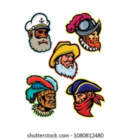 Mascot icon illustration set of heads of a conquistador or explorer, sea captain or skipper, old fisherman, Zulu warrior and a highwayman or robber viewed from  on isolated background in retro style.