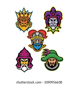 Mascot icon illustration set of heads of the European medieval royal court figures like the king or monarch, court jester or fool, knight, wizard or sorcerer and the minstrel done  in retro style.