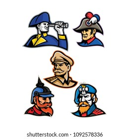 Mascot icon illustration set of heads of military officers and emperors like the British admiral, French emperor, American general, Prussian or German officer and the Jacobite highlander retro style.