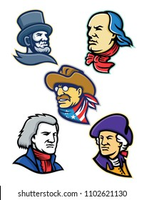 Mascot icon illustration set of heads of American presidents, patriot, heroes and statesman like Abraham Lincoln, Benjamin Franklin,Theodore Roosevelt, Thomas Jefferson and George Washington retro.