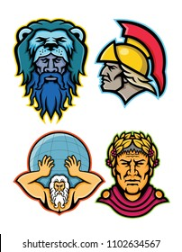 Mascot icon illustration set of heads of Roman and Greek heroes and gods in mythology  like Hercules or Heracles, Achilles or Achilleus, Atlas lifting globe and Gaius Julius Caesar  in retro style.