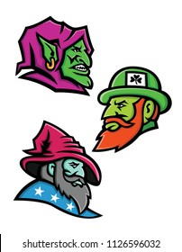 Mascot icon illustration set of heads of a goblin, Irish leprechaun and a wizard, sorcerer, warlock or magician  viewed from side  on isolated background in retro style.