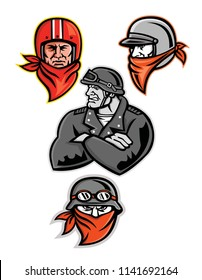 Mascot icon illustration set of heads of a male biker or motorcycle club rider, outlaw or bandit wearing a vintage helmet and bandanna or scarf viewed from  on isolated background in retro style.