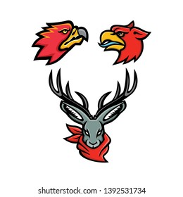 Mascot icon illustration set of heads of mythical or folklore creatures and animals like the firebird, griffin and jackalope viewed from front and side  on isolated background in retro style.