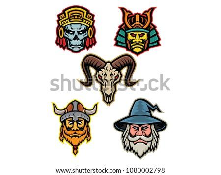ab530fbde6 Mascot icon illustration set of heads of an Aztec warrior skull, Samurai  warrior,bighorn