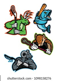 Mascot icon illustration set of  lacrosse and baseball sporting sports team mascots like  a stag deer, armadillo and bighorn ram, mountain goat lacrosse players and a largemouth bass baseball player.