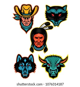 Mascot icon illustration set of popular North American sports  like the cowboy or outlaw, raccoon, Native American Indian chief, timber wolf or gray wolf and bison  viewed from  on isolated background