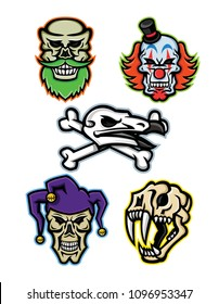 Mascot icon illustration set of skull heads and bones of a bearded hipster skull, whiteface clown skull, vulture or condor with crossed bones, court jester or joker skull and saber-toothed cat  retro.