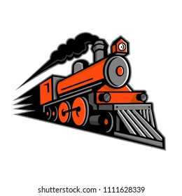 Mascot icon illustration of a vintage steam locomotive or train speeding in full speed coming up the viewer on isolated background in retro style.