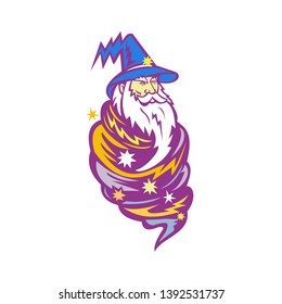 Mascot icon illustration of a wizard, warlock, magician or sorcerer wrapped up in a tornado wind or hurricane storm viewed from front on isolated background in retro style.