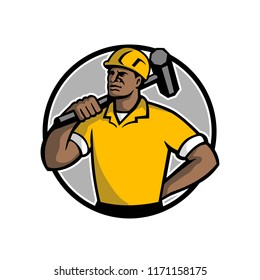Mascot illustration of an African American demolition worker, laborer or construction worker with sledgehammer set inside circle on isolated white background done in retro style.