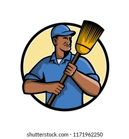 Mascot illustration of an African American street sweeper or street cleaner holding a broom set inside circle on isolated white background done in retro style.