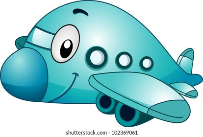 Mascot Illustration of an Airplane