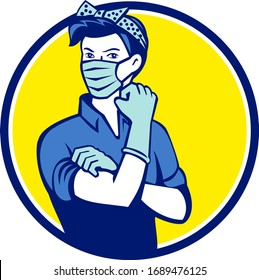 Mascot illustration of American Rosie, the riveter as medical healthcare essential worker wearing a surgical mask flexing muscle set inside circle done in retro style.