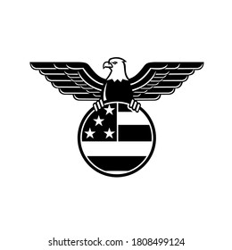 Mascot illustration of a bald eagle with wings spread clutching American or United States stars and stripes star spangled banner flag in circle viewed from front on isolated background in retro style.
