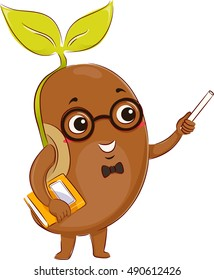 Mascot Illustration of a Bean Sprout Dressed as a Teacher Holding a Book in One Hand and a Chalk in the Other